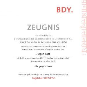 Yoga Zertifikat Jürgen Post Bonn