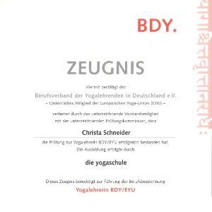 Yoga Zertifikat Christa Schneider Bonn
