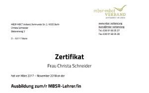 Zertifikat zur Ausbildung als MBSR Lehrer/in durch den mbst-mbct Verband