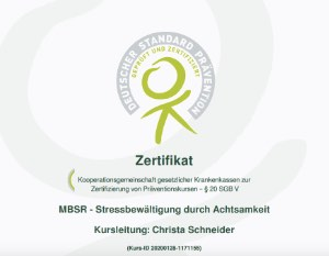 Zertifikat der Krankenkassen zur Bezuschussung eines MBSR Kurses